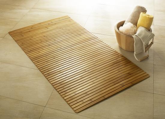 Badrum badrum matta : Matta i trä, Bambus, Spirella | Badrumsmattor/halkskydd - Texti
